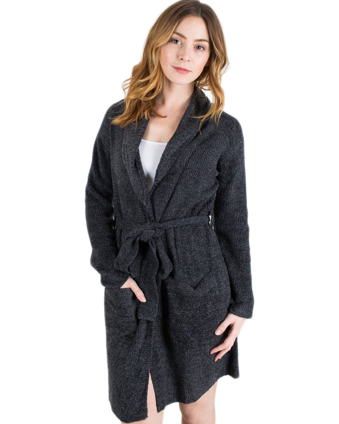 Barefoot Dreams Clothing Black/Graphite / 1 CCL Heathered Short Ribbed Robe