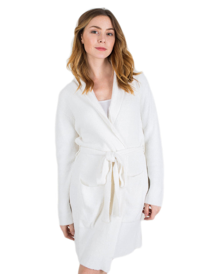 Barefoot Dreams Clothing White/Pearl / 1 CCL Heathered Short Ribbed Robe