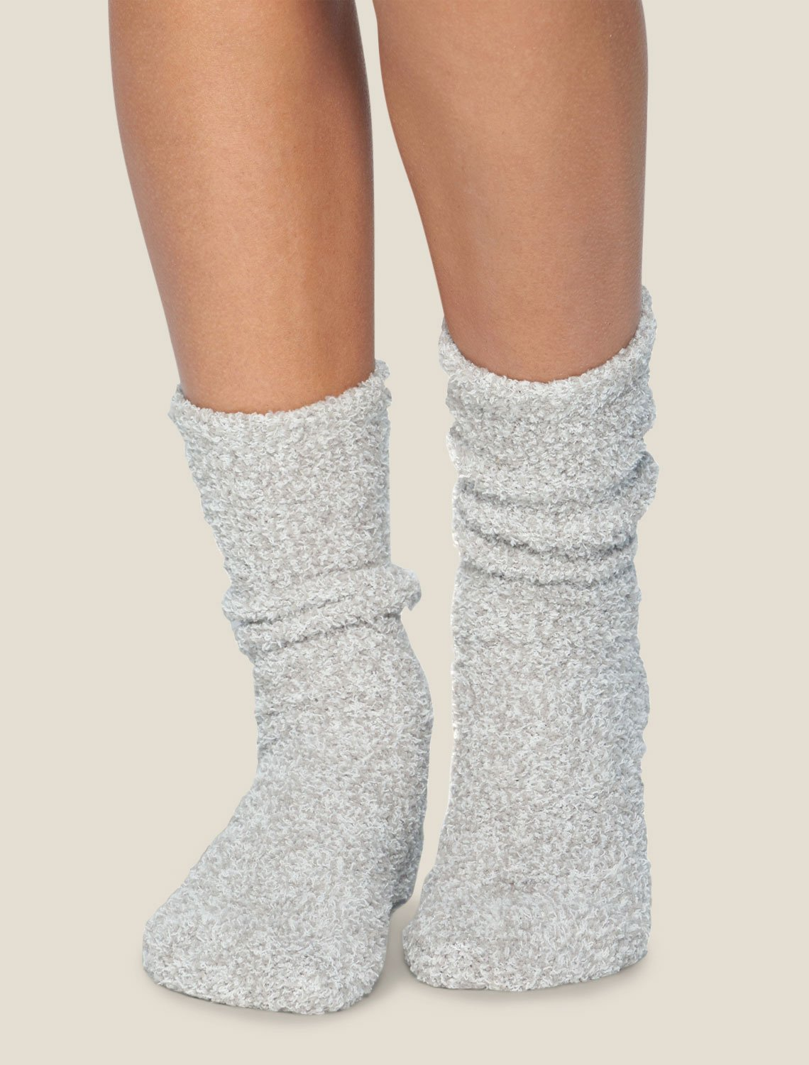 Barefoot Dreams Accessories Oyster & White / O/S Cozychic Heathered Socks in Oyster & White