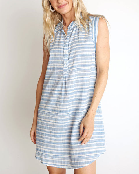 Bella Dahl Clothing Chambray Blue / XS Cap Sleeve Pleat Front Dress in Chambray Blue