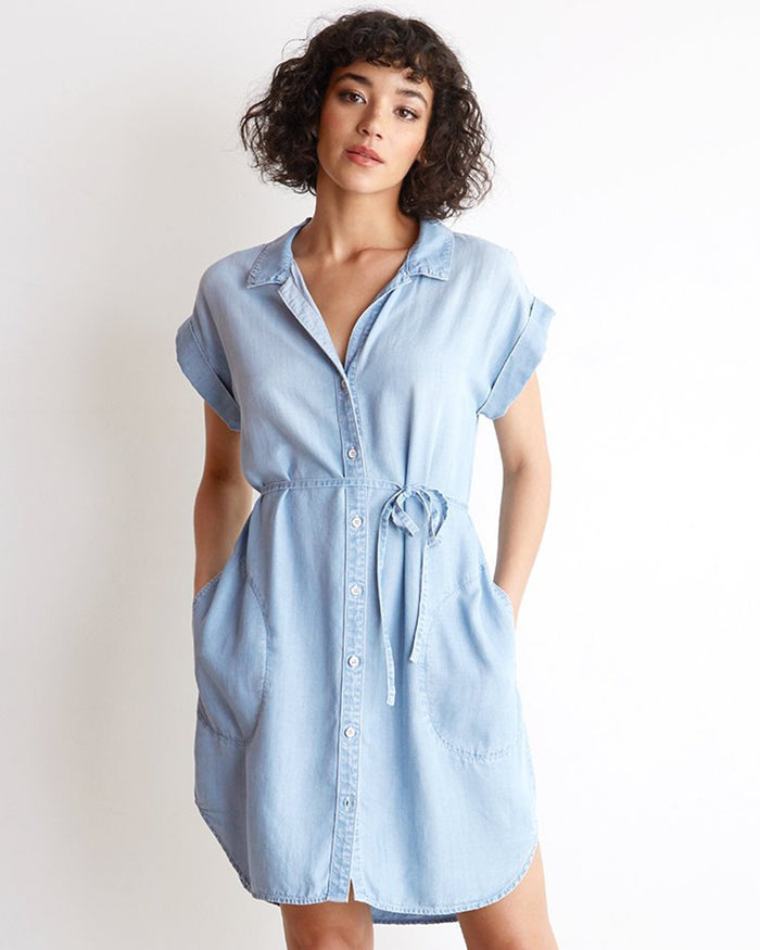 Bella Dahl Clothing Seaside Wash / XS Cap Sleeve Shirt Dress in Seaside Wash