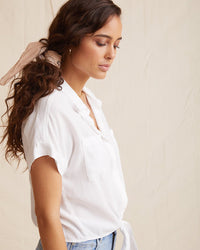 Bella Dahl Clothing Capsleeve Tie Front Shirt in White