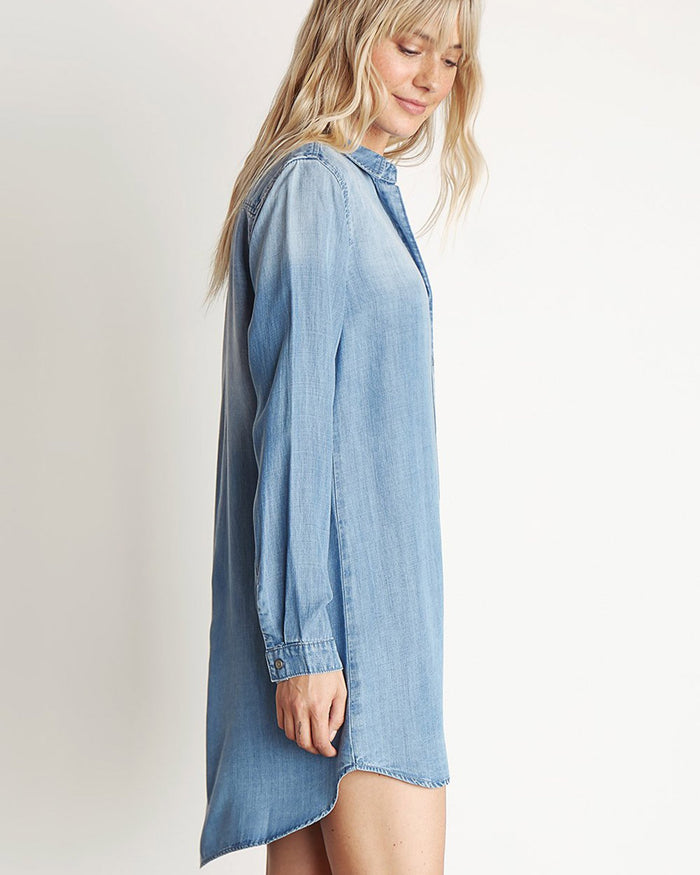 Bella Dahl Clothing Medium Ombre Wash / XS Pocket Shirt Dress in Medium Ombre Wash