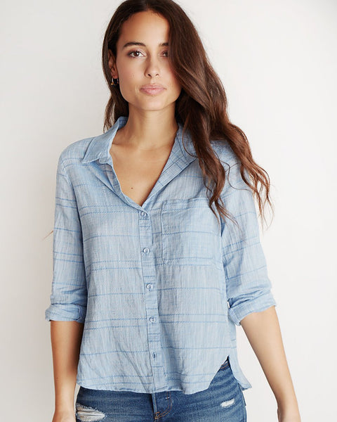Bella Dahl Clothing Chambray Blue / XS Rounded Hem Button Down in Chambray Blue