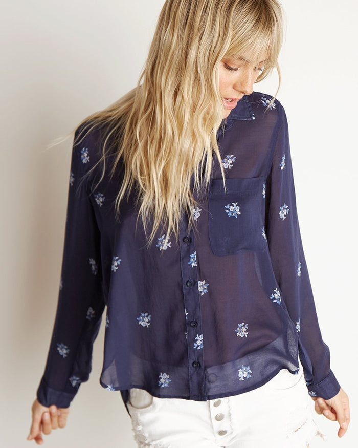 Bella Dahl Clothing Spaced Floral Print / XS Rounded Hem Button Down in Spaced Floral Print