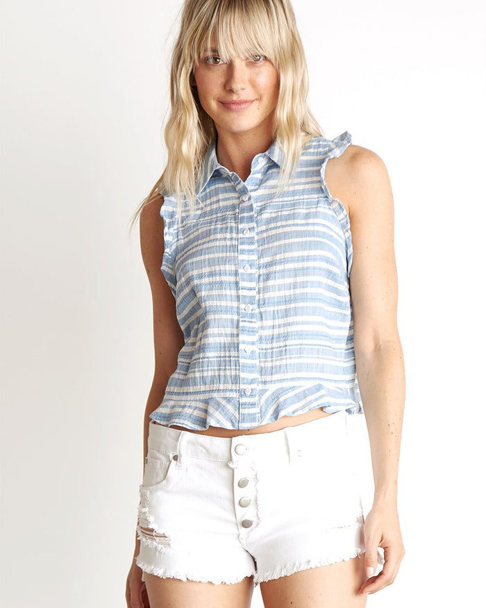 Bella Dahl Clothing Chambray Blue / XS Ruffle Tank Button Down in Chambray Blue