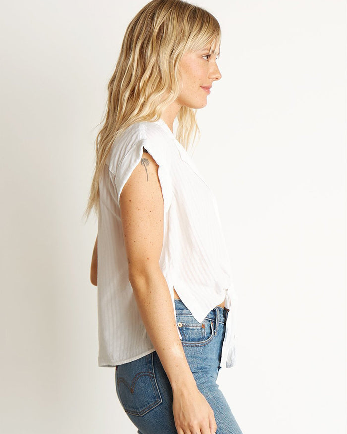 Bella Dahl Clothing White / XS Side Slit Tie Front Button Down in White