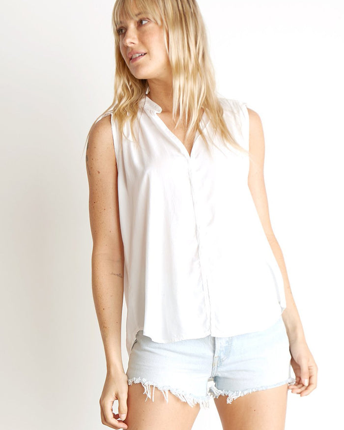 Bella Dahl Clothing White / XS Sleeveless Shirred Blouse in White