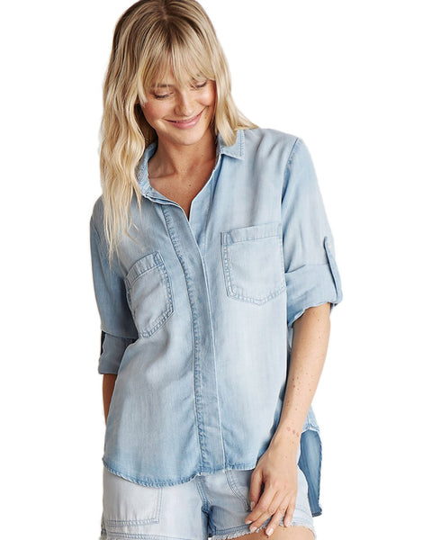 Bella Dahl Clothing Light Mist Wash / XS Split Back Button Down in Light Mist Wash