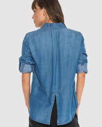 Bella Dahl Clothing Well Worn Wash / XS Split Back Button Down in Well Worn Wash