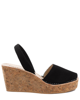 Calaxini Shoes Platform Wedge in Black Nubuck