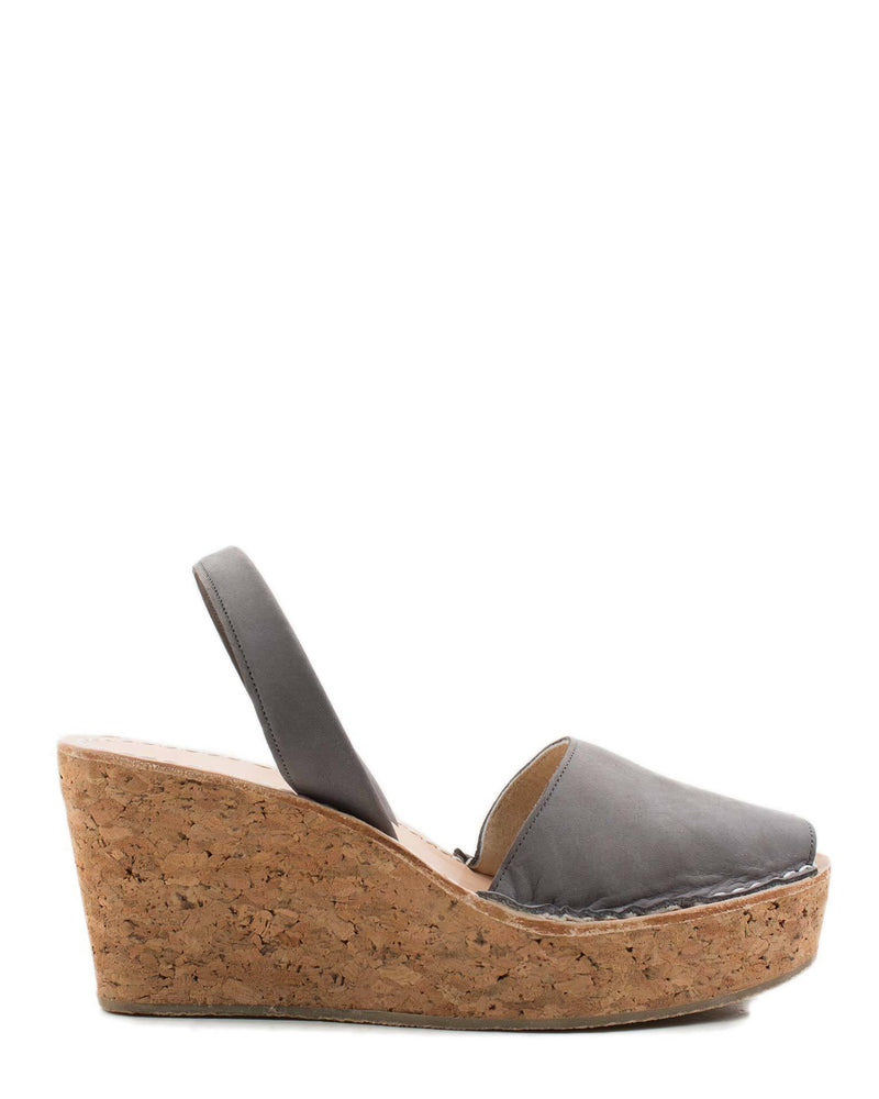 Calaxini Shoes Platform Wedge in Gris Nubuck
