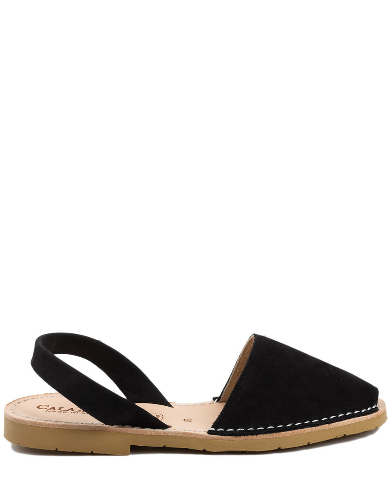 Calaxini Shoes Verano Slide in Black Nubuck