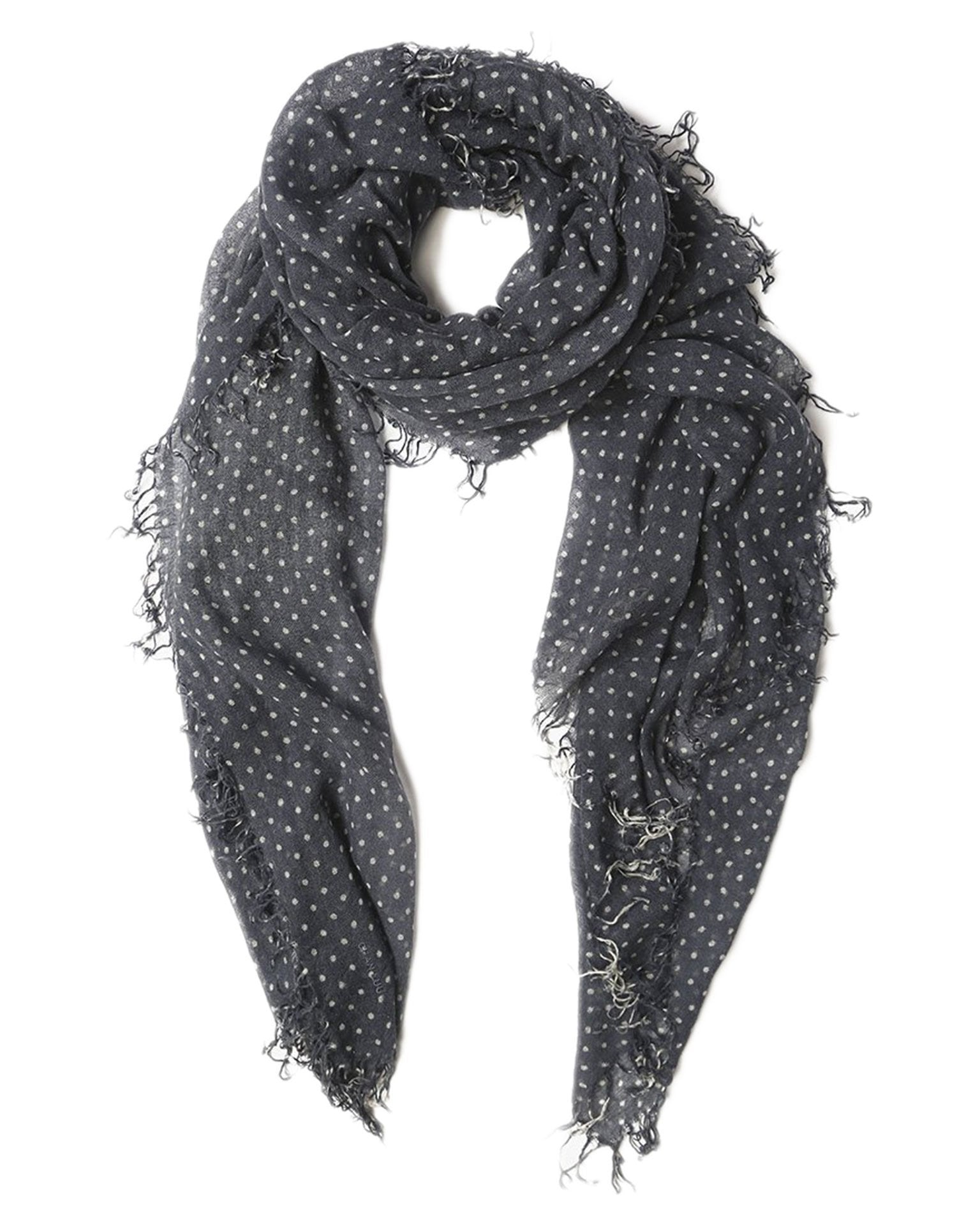 Chan Luu Accessories Cashmere & Silk Polka Dot Scarf in Blue Nights