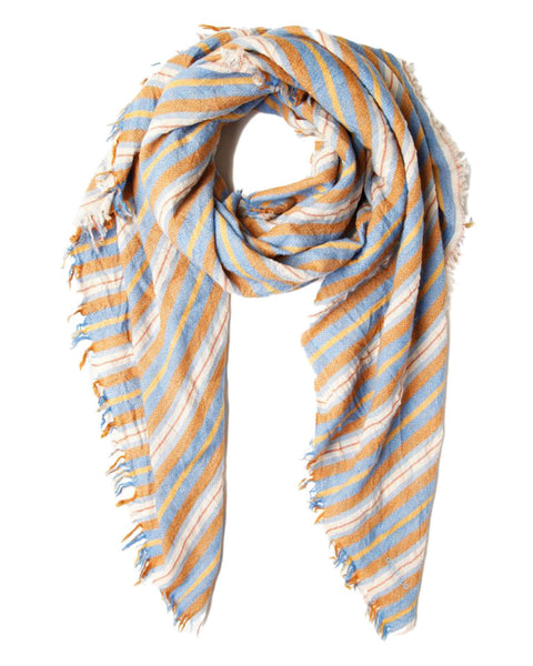 Chan Luu Accessories Six Color Stripe Scarf in Palace Blue