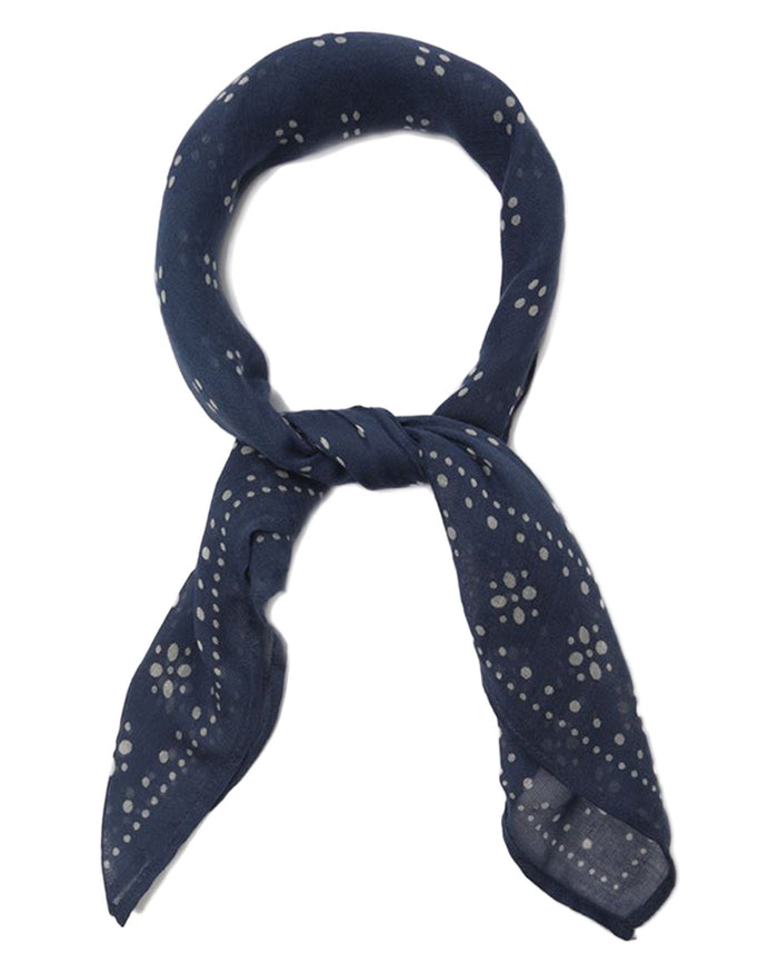 Chan Luu Accessories Dark Denim / O/S Vintage Dot Bandana