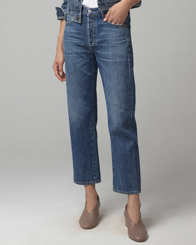Citizens of Humanity Denim Blue Rose / 25 Emery High Rise Relaxed Crop in Blue Rose
