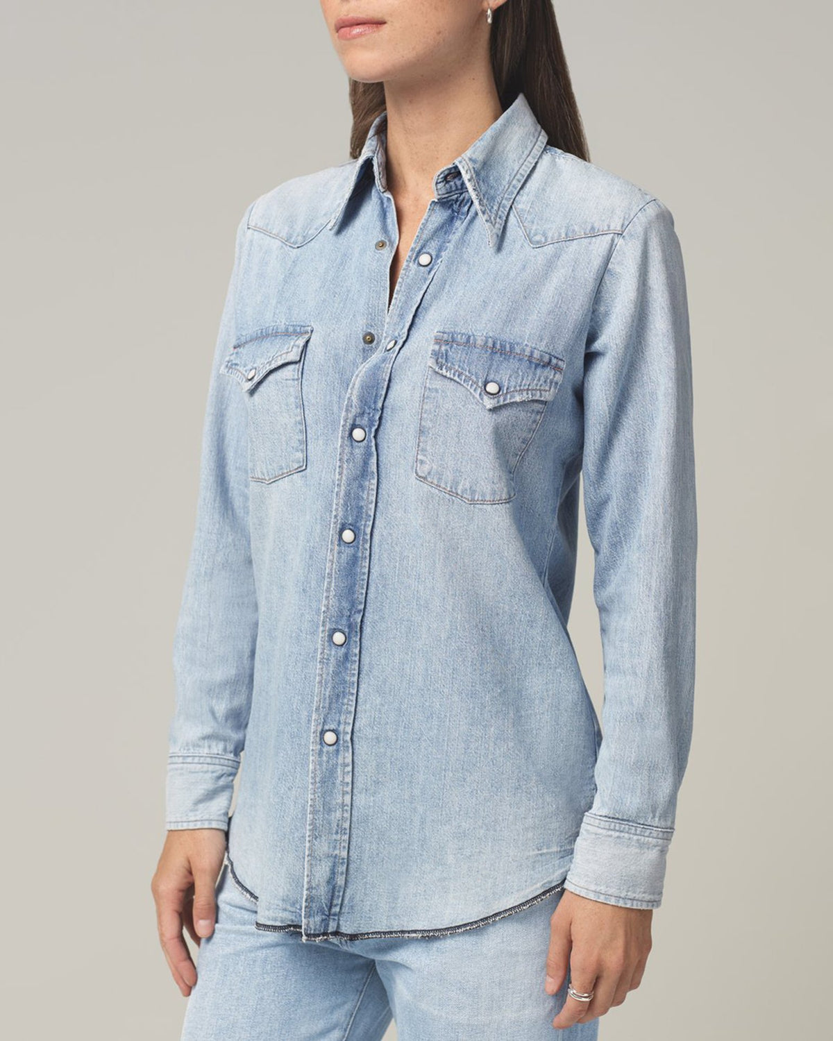 Citizens of Humanity Clothing Jules Slim Western Shirt in Sweet Thing