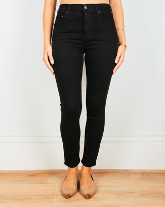 Citizens of Humanity Denim Rocket Crop High Rise Skinny in Plush Black
