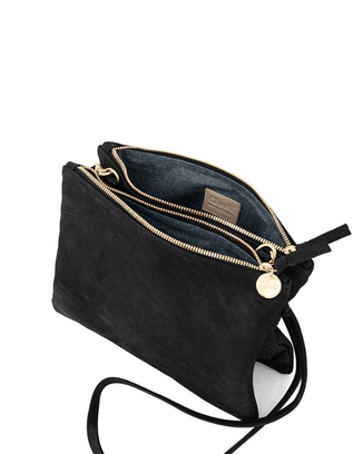 Clare V. Accessories Double Sac Bretelle in Black Nubuck