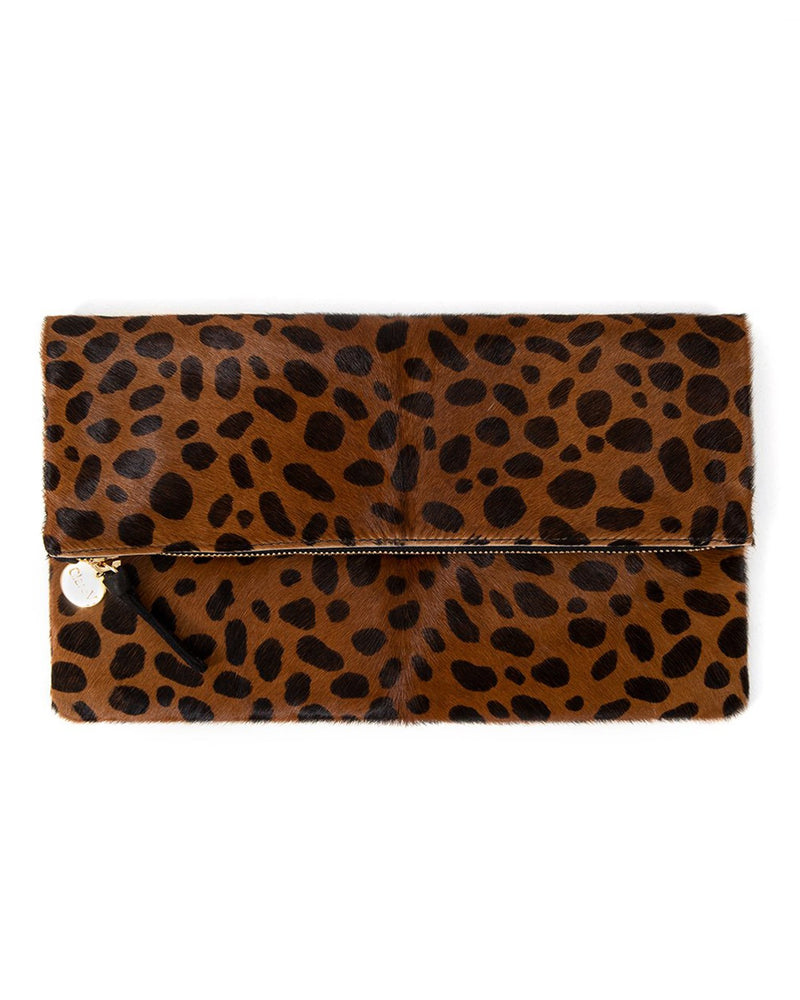 Clare V. Accessories OS / Leopard Hair Leopard Foldover Clutch