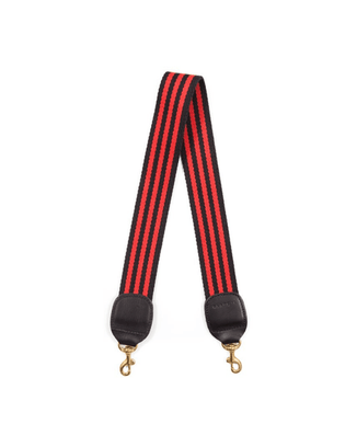 Clare V. Accessories Shoulder Stripe in Black & Red Mini Stripe