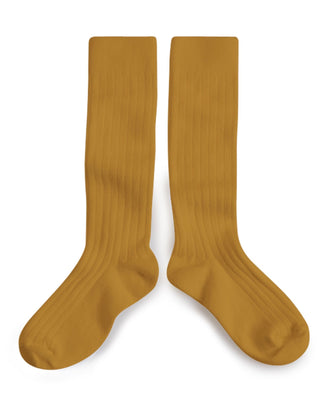 Collegien Accessories Moutarde/Mustard / 36/38 Plain Ribbed Knee High Socks