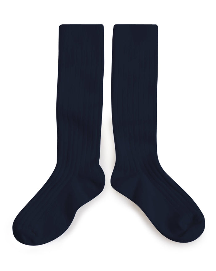 Collegien Accessories Nuit/Night/Navy / 36/38 Plain Ribbed Knee High Socks