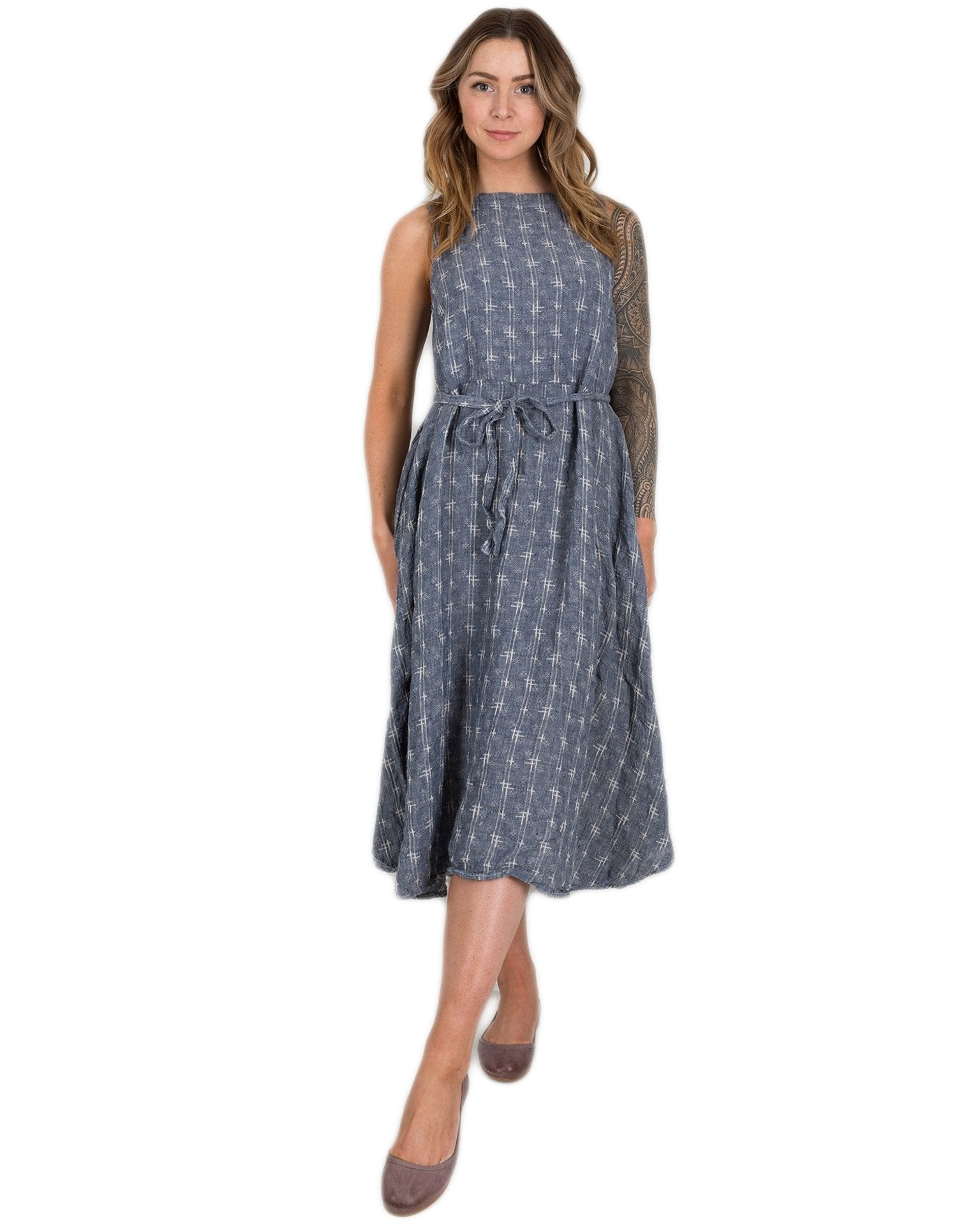 CP Shades Clothing Chambray Crosshatch / XS Aria Tie Waist Dress