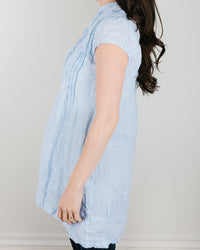 CP Shades Clothing Cap Sleeve Regina in Light Blue Stripe Linen