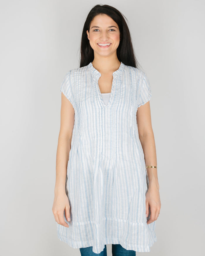CP Shades Clothing Light Blue Textured Stripe / XS Cap Sleeve Regina in Light Blue Textured Stripe