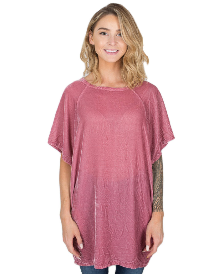 CP Shades Clothing Hibiscus / XS Cara T Shirt Dress in Hibiscus Silk Velvet