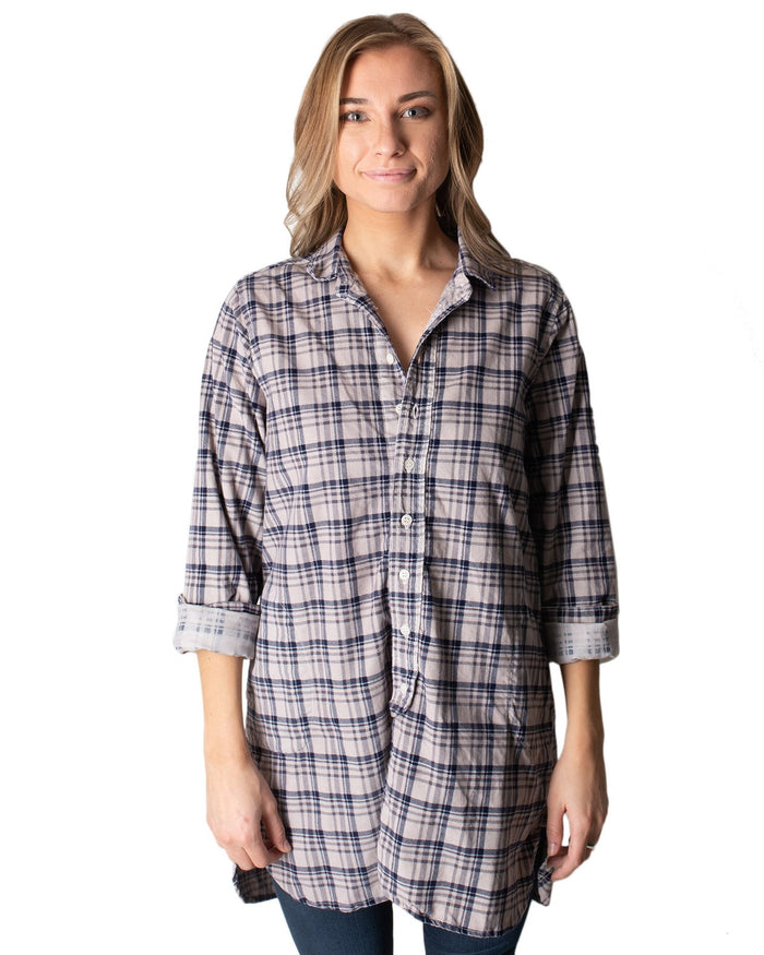 CP Shades Clothing Oat Overdye Navy Plaid / XS Cecelia Blouse in Oat Navy Plaid