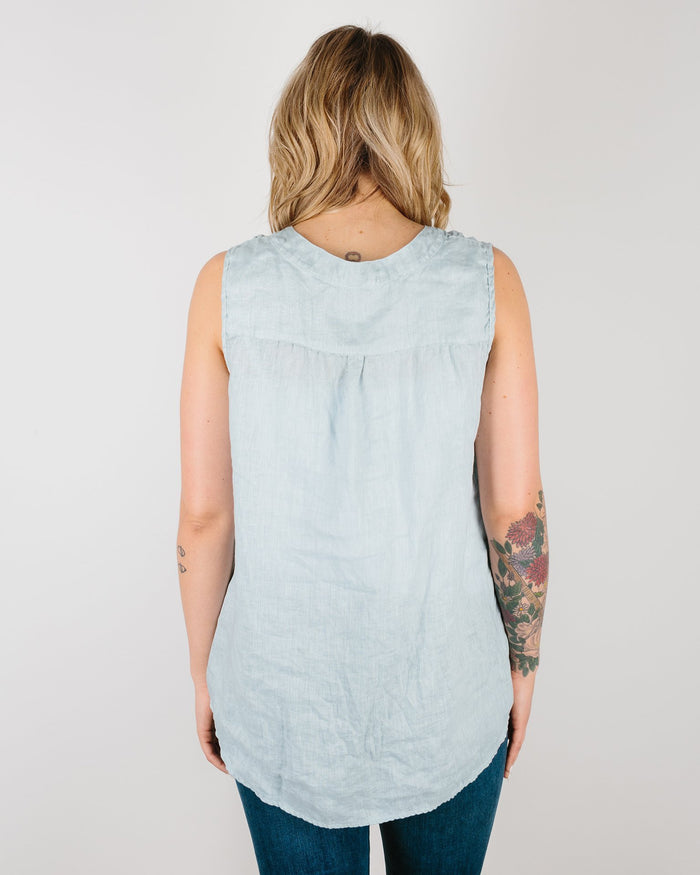 CP Shades Clothing Ink / XS Chia Sleeveless Henley in Dyed Linen
