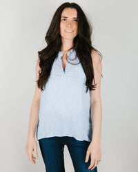CP Shades Clothing Chia Tank in Light Blue Pin Stripe