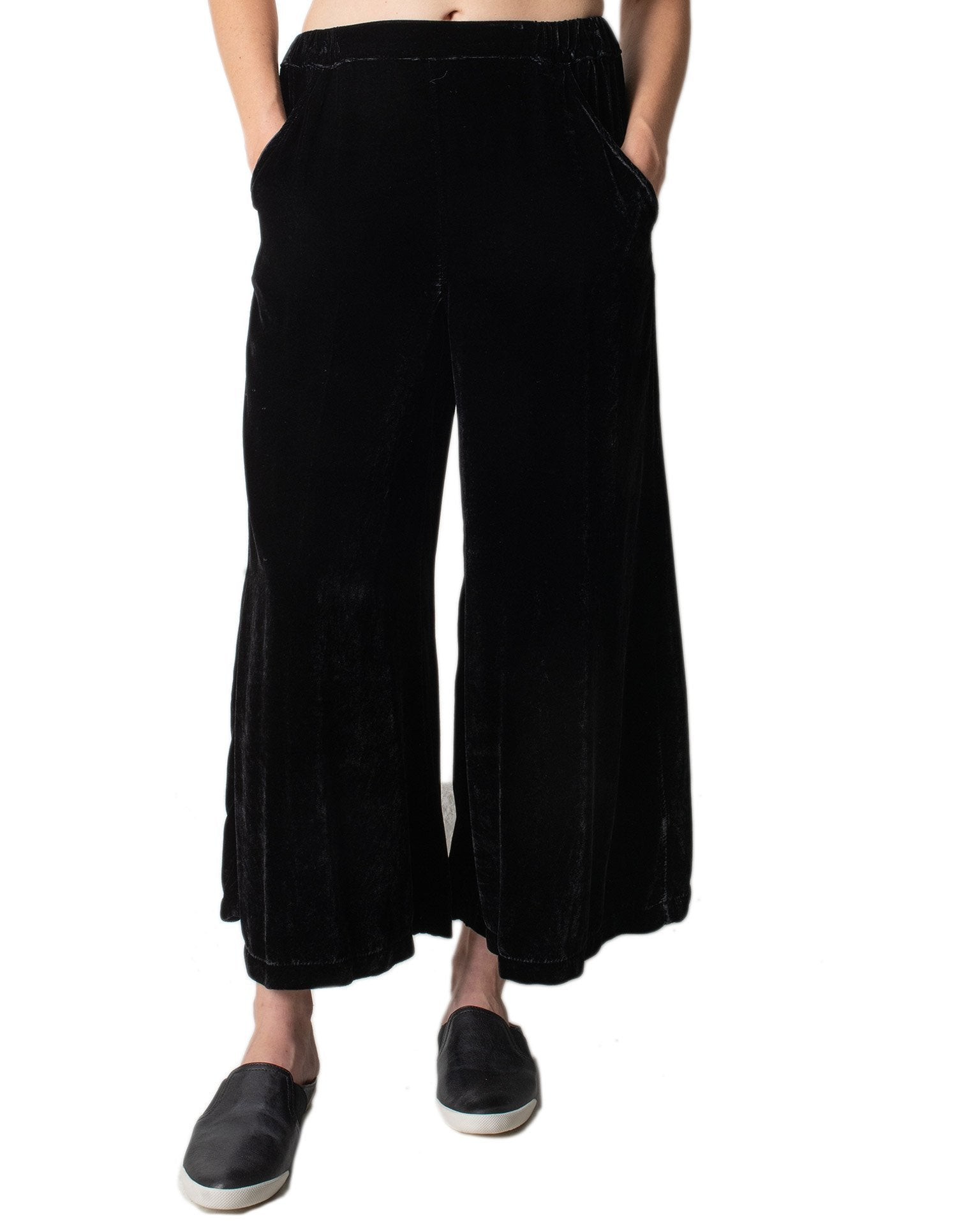CP Shades Clothing Black / XS Cropped Wendy Pant- Silk Velvet