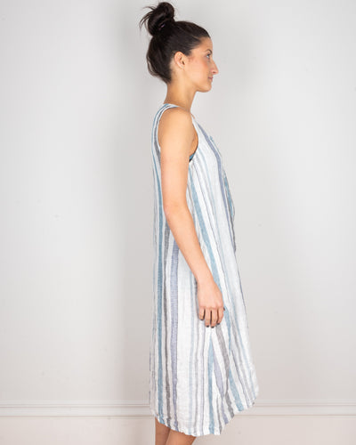 CP Shades Clothing Darcy Tank Dress in Blue & Black Stripe