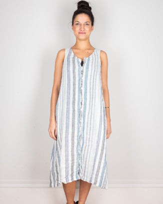 CP Shades Clothing Blue & Black Stripe / XS Darcy Tank Dress in Blue & Black Stripe