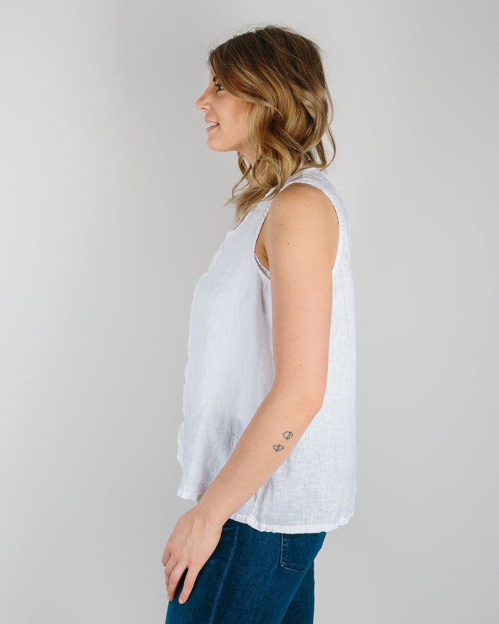 CP Shades Clothing White / XS Darcy Tank Top in White Linen