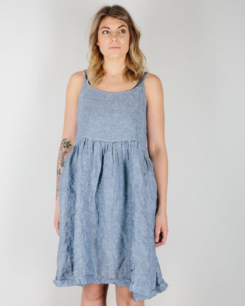 CP Shades Clothing Ink Chambray / XS Dot Tank Dress in Ink Chambray