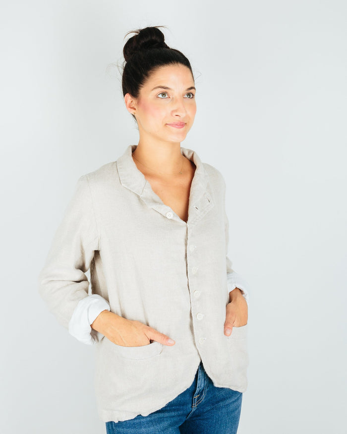 CP Shades Clothing Dree Jacket in Natural Linen Flannel
