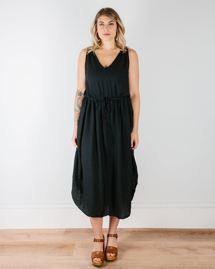 CP Shades Clothing Black / XS Freya Cinched Waist Dress -Black Rayon