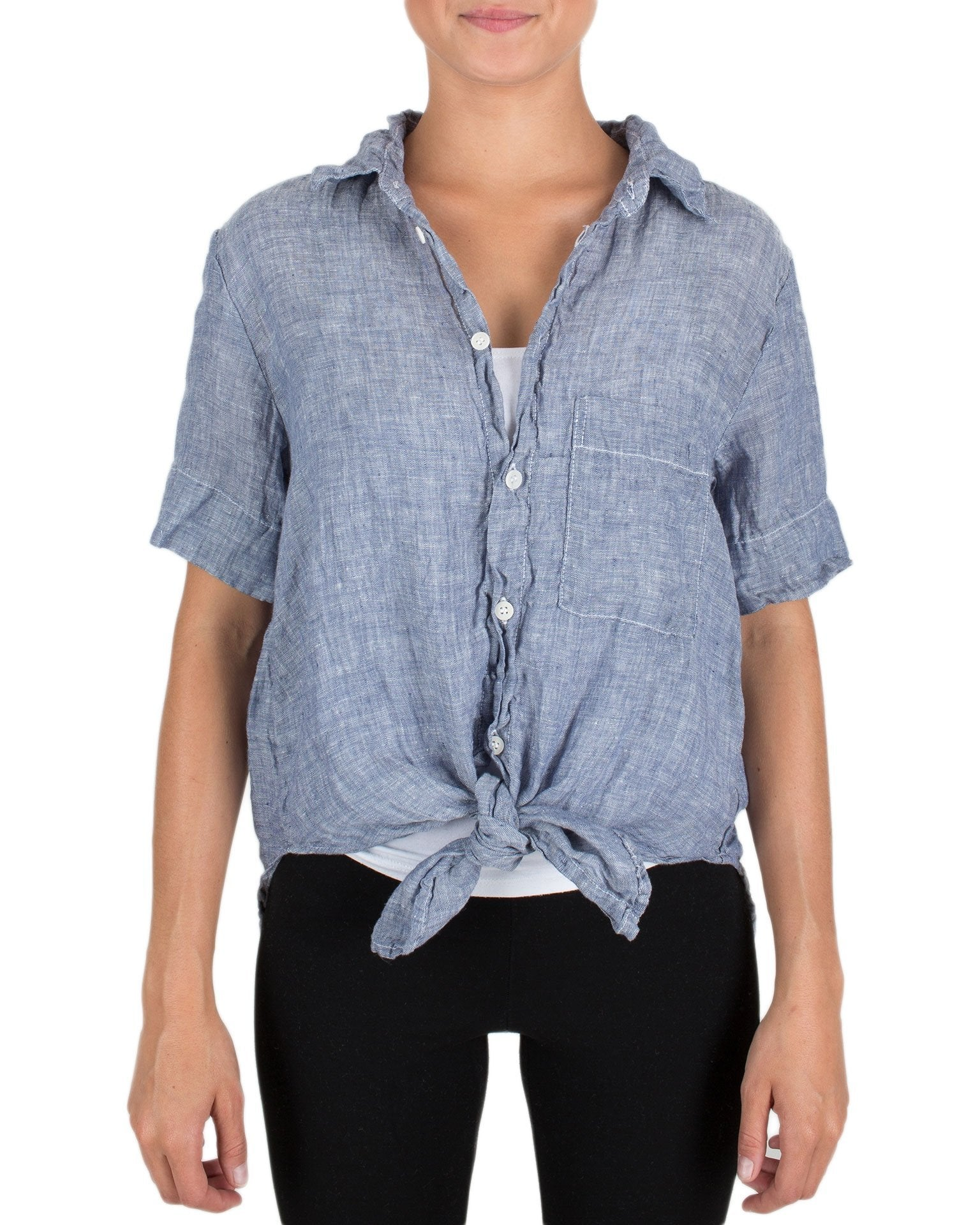 CP Shades Clothing Ink Chambray / XS Georgie S/S Tie Blouse in Ink Chambray