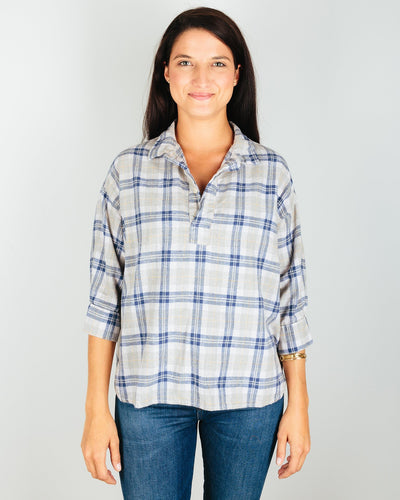 CP Shades Clothing Blue/Grey/Yellow Plaid / XS Gigi Boxy Pull Over