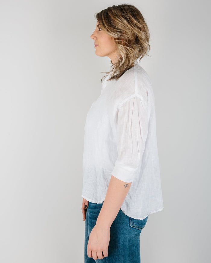 CP Shades Clothing White / XS Gigi Boxy Pull Over in White Linen