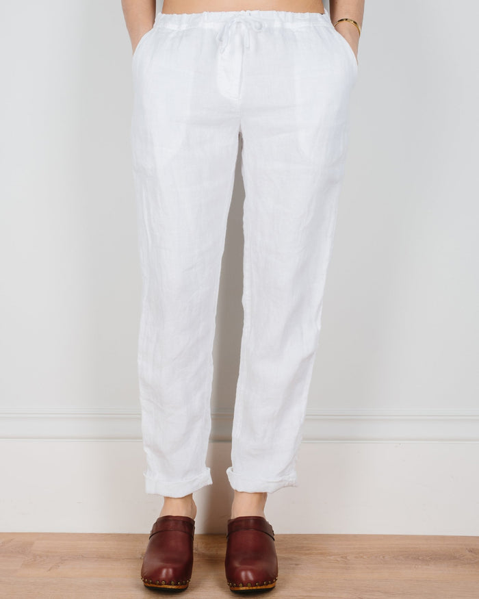 CP Shades Clothing White Linen Twill / XS Hampton Straight Leg Pant in Linen Twill