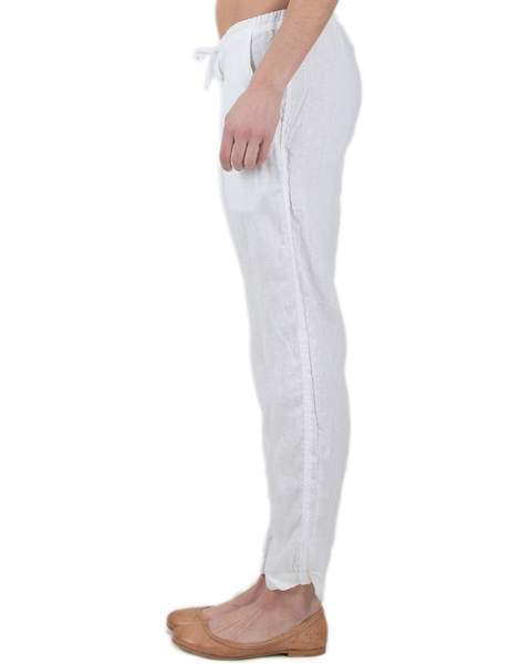 Hampton Straight Leg Pant in White Linen