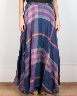 CP Shades Clothing Blue Madras / XS Inez Circle Skirt in Blue Madras
