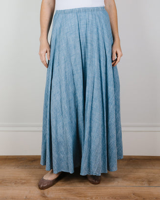 CP Shades Clothing Inez Circle Skirt in Cotton Chambray