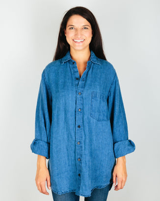 CP Shades Clothing Bleach Indigo Twill / XS Jack Blouse in Bleach Indigo Twill